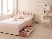 棚・コンセント付き 収納ベッド【Bonheur】ボヌール