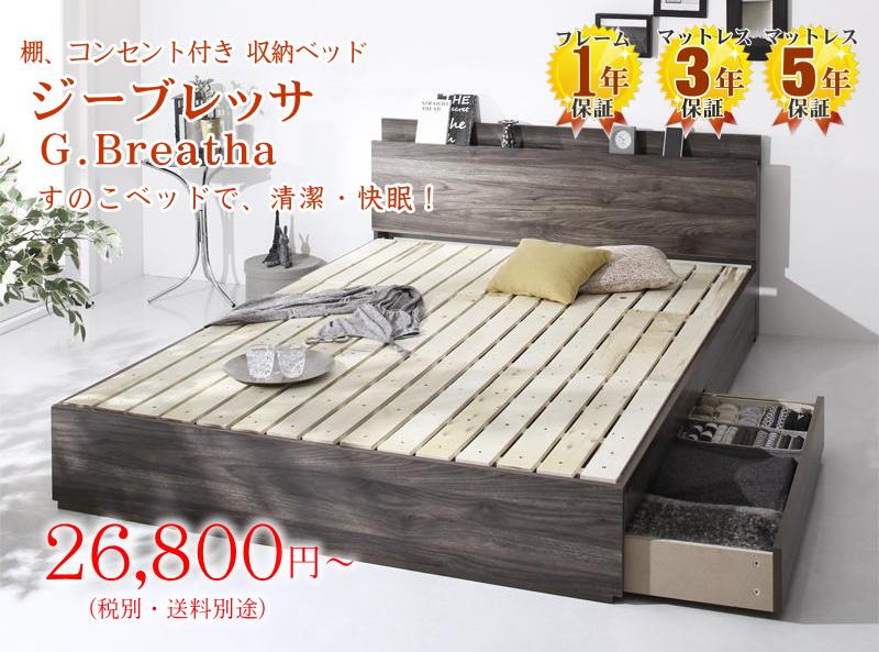 すのこ床板 収納ベッド【ジーブレッサ】
