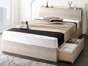 LED照明・棚・コンセント付き 収納ベッド【Grainy】グレイニー