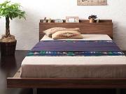 棚・コンセント付き デザインすのこベッド(ボードベッド)【Tschues】チュース